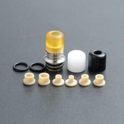 صورة High End KS V2 SS Base + 3 Mouthpiece 510 Drip Tip + 6 Airflow Insert Set - Type A, Silver + White + Black + Brown